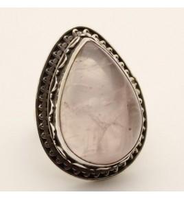 Bague argent et quartz rose T 57 - R705