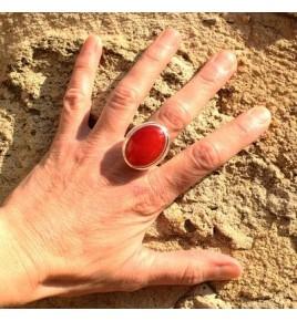 Bague argent jade rouge