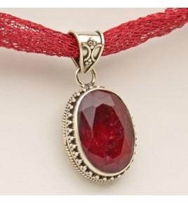Pendentif argent et racine de rubis PTF675