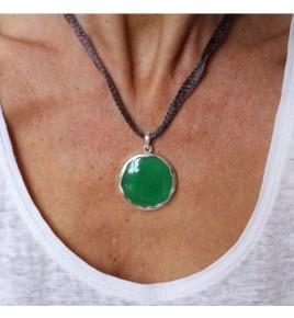 pendentif argent 925 et jade vert