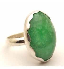 Bague argent et jade vert T 55 - R713
