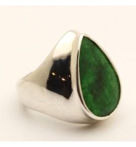 Bague argent et jade vert T 59 - R700