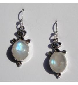 Boucles d'oreilles argent et pierre de lune BO398