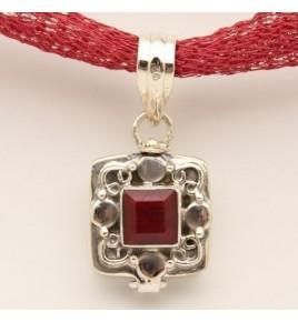 Pendentif argent et racine de rubis PTF676