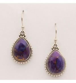 Boucles d'oreilles argent et turquoise mohave BO592