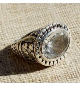 Bague argent et cristal de roche T 59 - R692