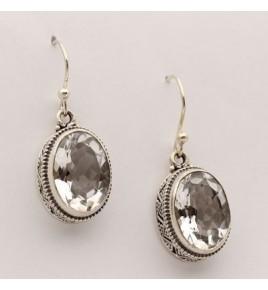 Boucles d'oreilles argent et cristal de roche BO589