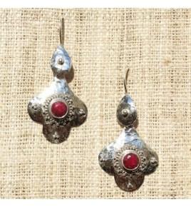 Boucles d'oreilles argent et racine de rubis BO528