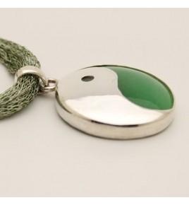 Pendentif argent et jade vert PTF690