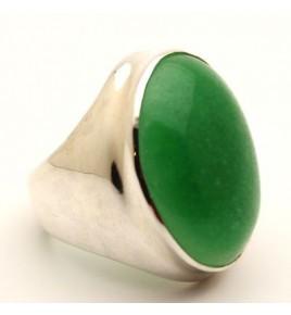 Bague argent et jade vert T 58,5 - R699