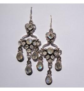 Boucles d'oreilles argent et pierre de lune BO315