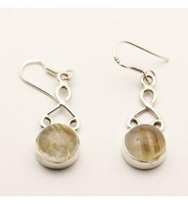 Boucles d'oreilles argent et quartz rutile BO616