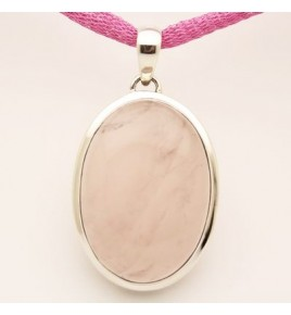 Pendentif argent et quartz rose PTF777