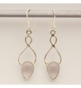 Boucles d'oreilles argent et quartz rose BO622