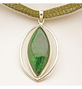 Pendentif argent et jade vert PTF691