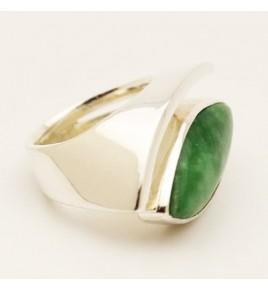 Bague argent et jade vert T 58,5 - R711