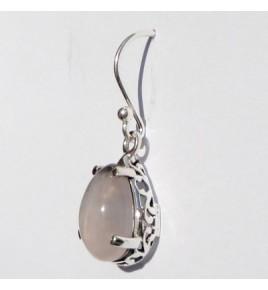 Boucles d'oreilles argent et quartz rose BO362