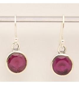 Boucles d'oreilles argent et racine de rubis BO629