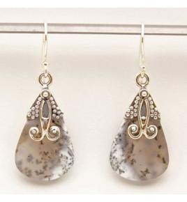 Boucles d'oreilles argent et agate dendritique BO636