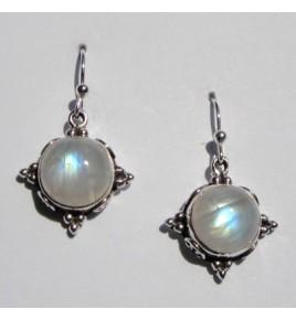 Boucles d'oreilles argent et pierre de lune BO386