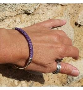 Jonc argent et galuchat violet - BJ84