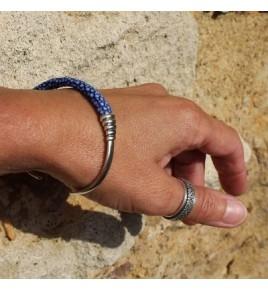 Jonc argent et galuchat bleu - BJ89