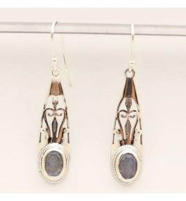 Boucles d'oreilles argent et labradorite BO638