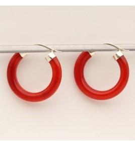 Boucles d'oreilles argent et jade rouge BO607