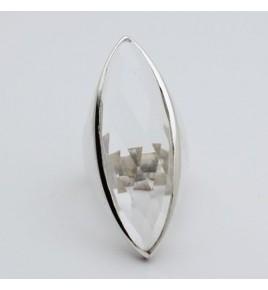 Bague argent et cristal de roche marquise T 61