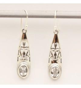 Boucles d'oreilles argent et cristal de roche BO645