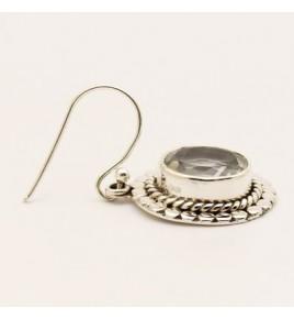 Boucles d'oreilles argent et cristal de roche BO639