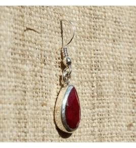 Boucles d'oreilles argent et racine de rubis BO523