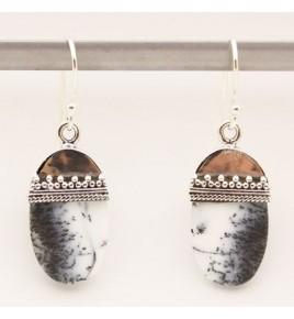 Boucles d'oreilles argent et agate dendritique