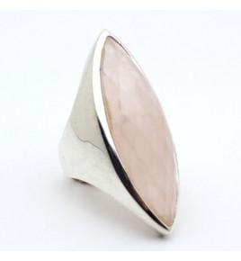 Bague argent et quartz rose T 59 - R869