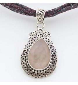 Pendentif argent et quartz rose PTF829