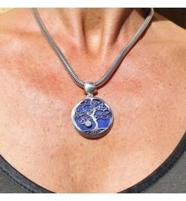 pendentif argent 925 et lapis lazuli arbre de vie