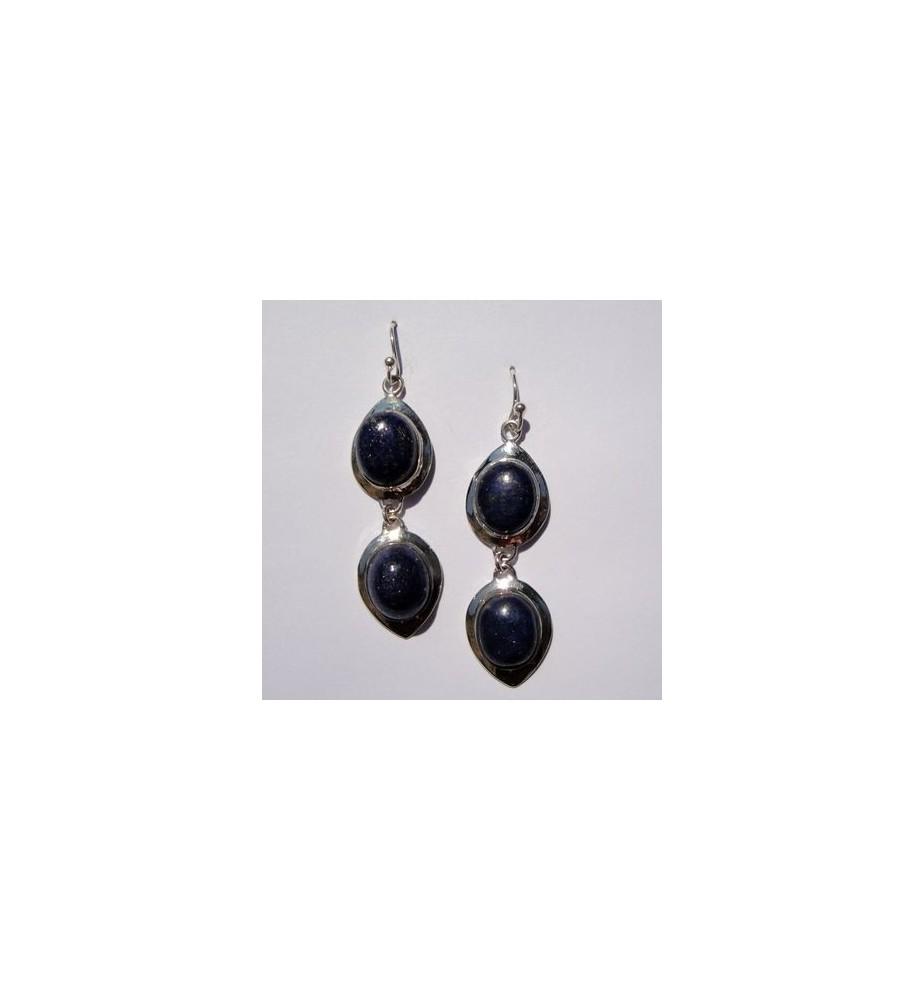 boucles d'oreilles argent 925 et lapis lazuli