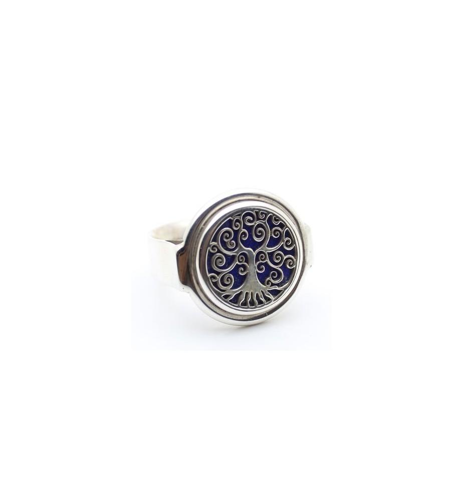 bague argent 925 et lapis lazuli arbre de vie