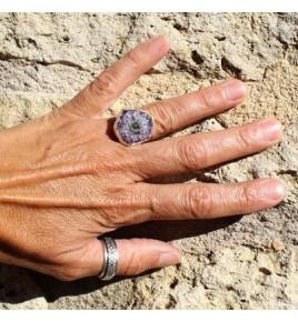 bague argent 925 et amethyste stalactite