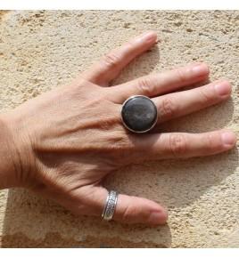 bague argent et obsidienne argentée