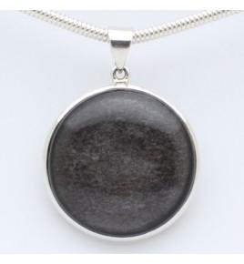 pendentif argent et obsidienne argentée