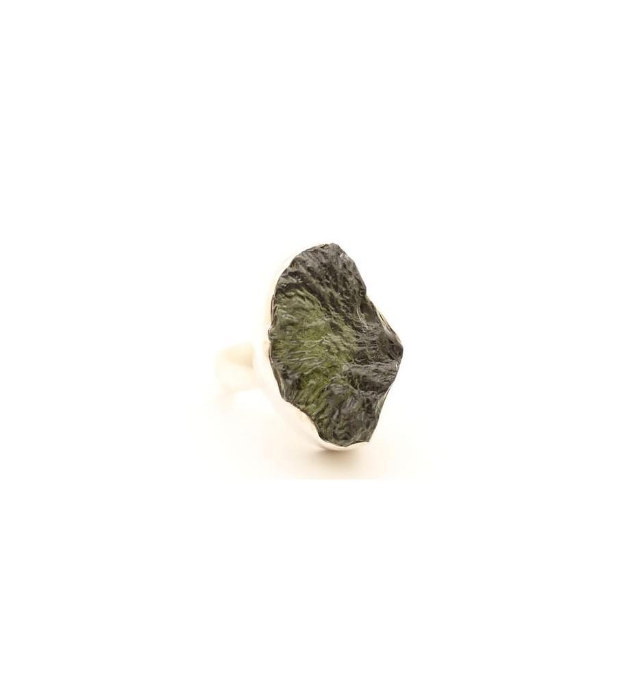 bague argent et moldavite