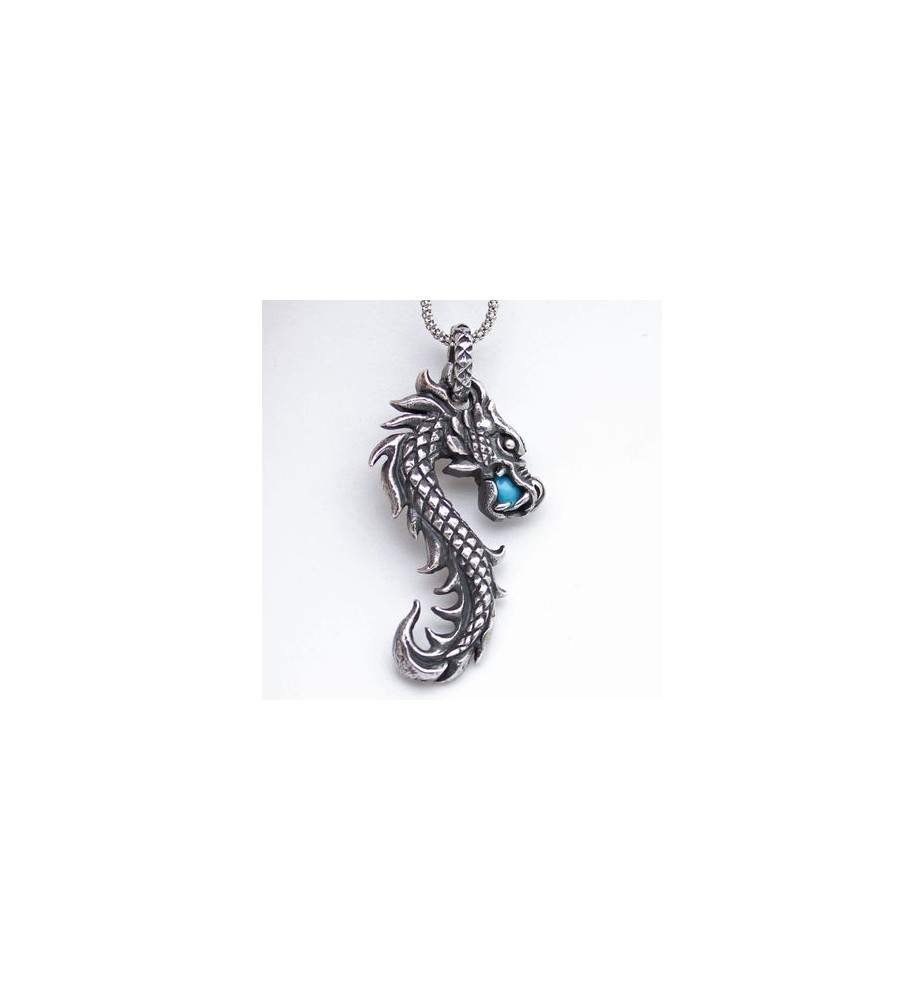 pendentif argent dragon et turquoise