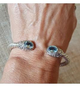 Bracelet jonc argent et topaze bleue