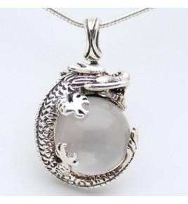 pendentif dragon argent et cristal de roche