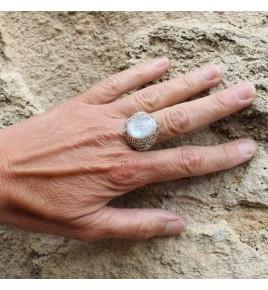 bague argent et pierre de lune