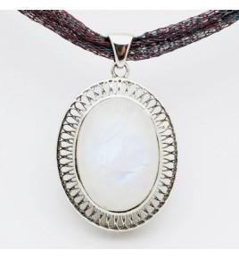 pendentif argent et pierre de lune
