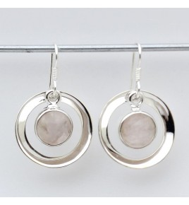 boucles doreilles argent et quartz rose